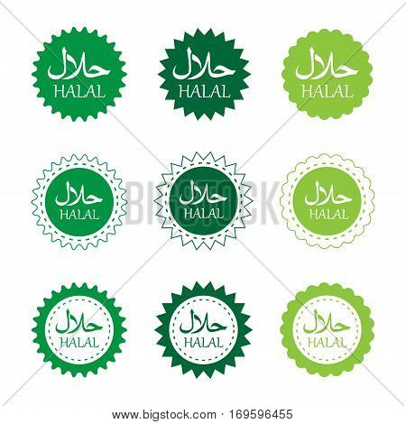 vector set of halal products labels in green colors. EPS