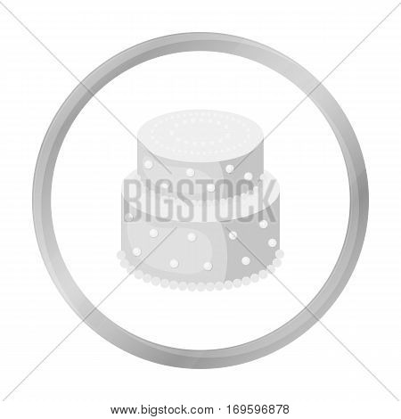 Green cake with yellow dots icon in monochrome design isolated on white background. Cakes symbol stock vector illustration.