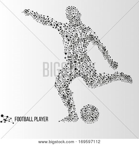 Abstract geometric molecule polygonal football soccer player silhouette isolated on gradient background