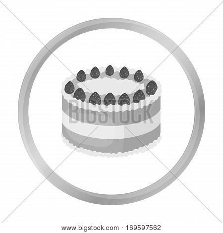 Strawberry cake icon in monochrome design isolated on white background. Cakes symbol stock vector illustration.