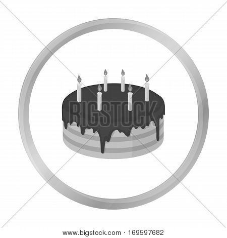 Chocolate cake icon in monochrome design isolated on white background. Cakes symbol stock vector illustration.