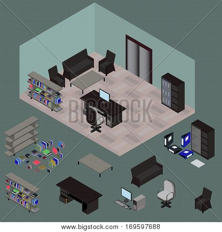 Isometric work place with set of objects table computer bookshelves armchair sofa folder file books in vector
