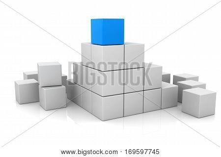 blue cube and white cubes 3d, block box shape
