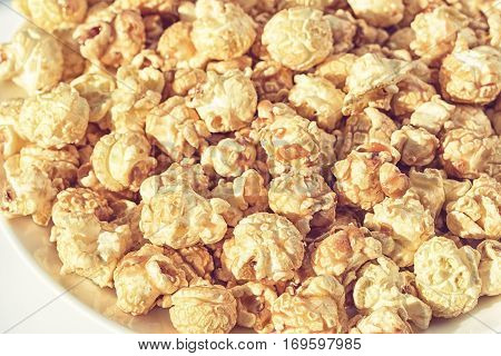 Popcorn on the table. Popcorn texture background
