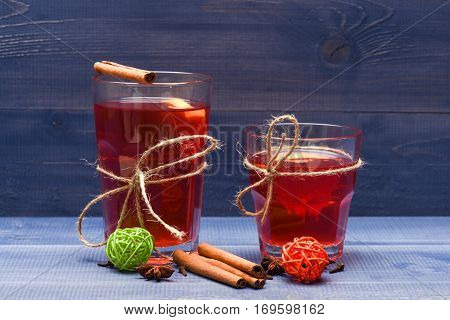 Tea Or Mulled Wine With Cinnamon, Lemon And Badians