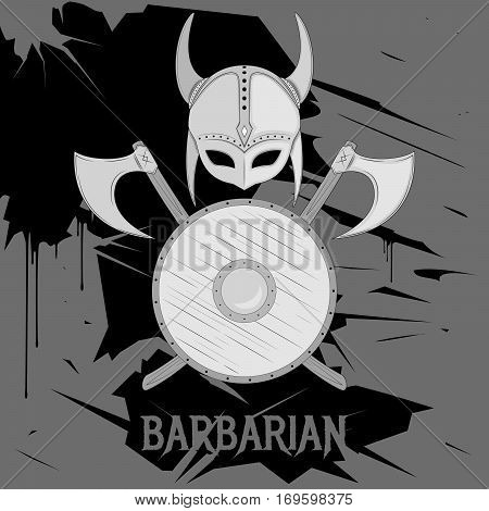 Barbarian weapon composition with shield and helmet isolated on grunge background