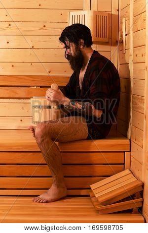 Handsome Bather In Sauna