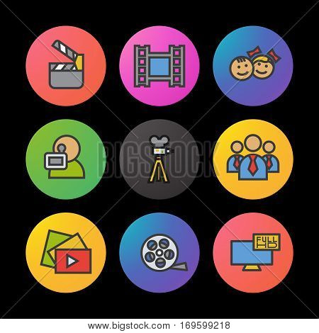 Filming color icons set. Movie clapperboard, video film, play button, videographer, children. Smart watch UI style