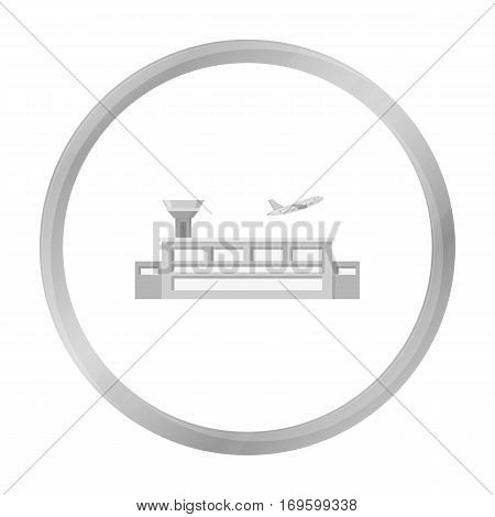 Airport icon monochrome. Single building icon from the big city infrastructure monochrome stock vector