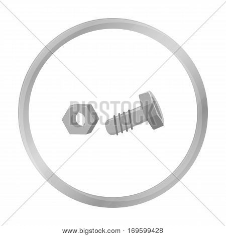 Structural bolt and hex nut icon in monochrome style isolated on white background. Build and repair symbol vector illustration.
