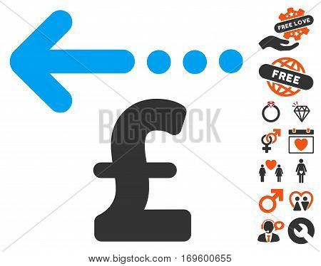 Refund Pound pictograph with bonus dating pictograph collection. Vector illustration style is flat iconic symbols for web design app user interfaces.