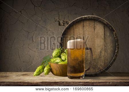 Wooden oak barrel isolated on white background.