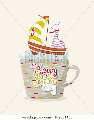 cute happy birthday card with giraffe in Cup. Card invitation with number. Happy Birthday 5 year