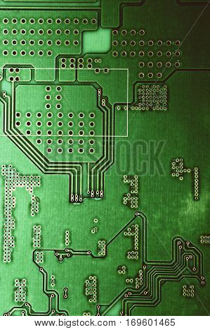 Background with a green microcircuit close up