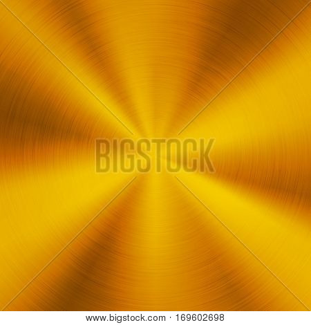 Gold abstract technology background with polished, brushed circular metal texture, chrome, silver, steel, aluminum for design concepts, web, posters, wallpapers and prints. Vector illustration.