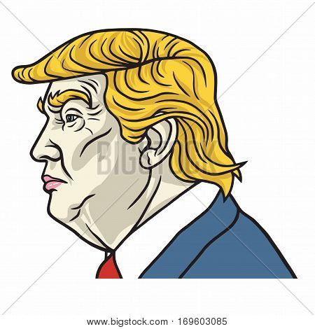 Vector Portrait of Donald Trump President Elect of the United States of America. February 8, 2017