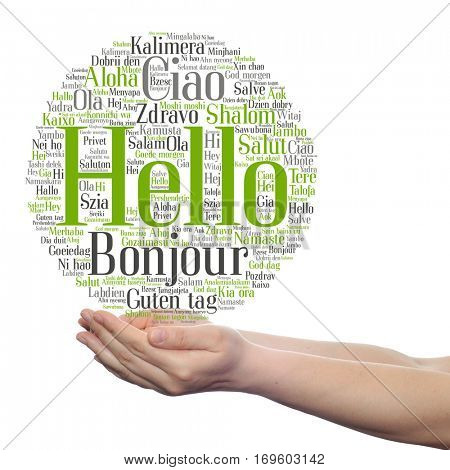 Concept or conceptual abstract hello greeting international word cloud on hands in different languages or multilingual metaphor to world, foreign, worldwide, travel, translate, vacation or tourism
