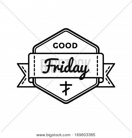 Good Friday emblem isolated illustration on white background. 14 april world orthodox and catholic holiday event label, greeting card decoration graphic element