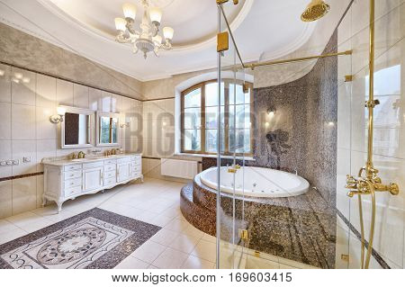 Russia,Moscow region - bathroom interior in new luxury country house