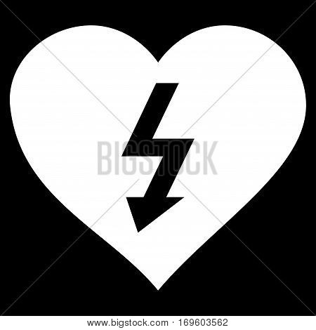 Power Love Heart flat icon. Vector white symbol. Pictograph is isolated on a black background. Trendy flat style illustration for web site design logo ads apps user interface.