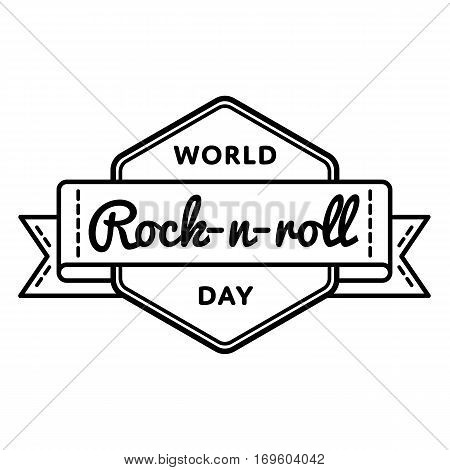 World Rock-n-roll day emblem isolated illustration on white background. 13 april world musical holiday event label, greeting card decoration graphic element