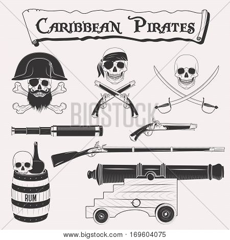 Caribbean pirates drawings set. Symbols of piracy - pirate hat, swords, weapons, black flag, cannon, jolly roger emblem, skull and crossbones elements