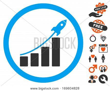 Rocket Startup Bar Chart pictograph with bonus dating design elements. Vector illustration style is flat iconic symbols for web design app user interfaces.