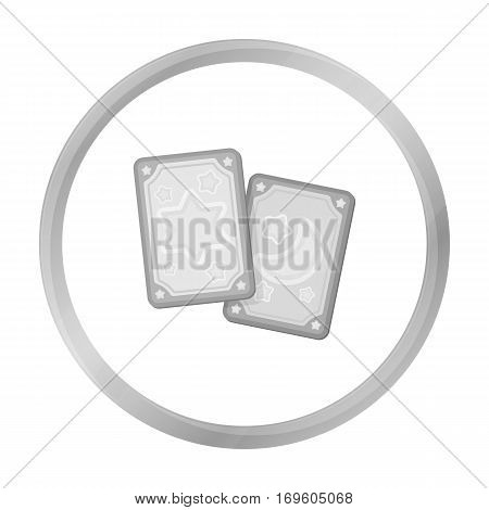 Tarot cards icon in monochrome style isolated on white background. Black and white magic symbol vector illustration.