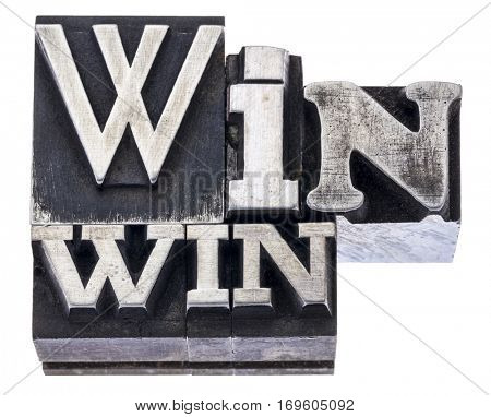 win-win strategy in mixed vintage metal type printing blocks, isolated on white