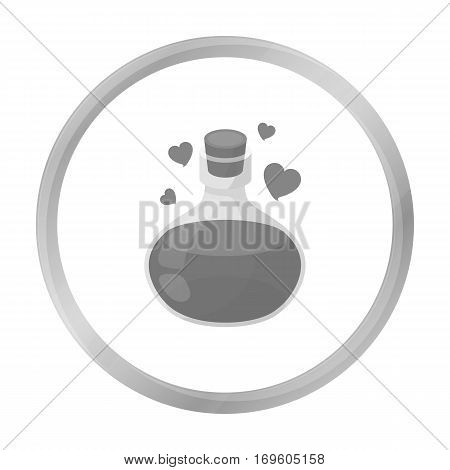Love potion icon in monochrome style isolated on white background. Black and white magic symbol vector illustration.