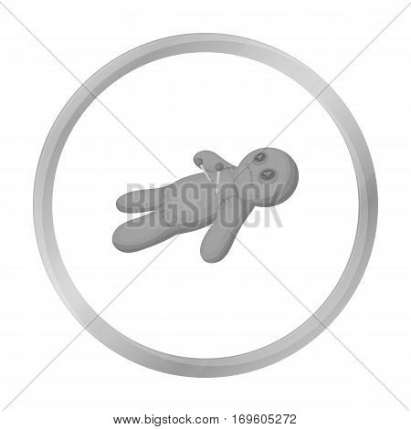 Voodoo doll icon in monochrome style isolated on white background. Black and white magic symbol vector illustration.