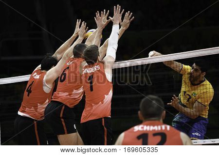 Rio Brazil. August 09 2016. Volleyball men - SANDERS Tyler DUFF Justin and HOAG Nicholas N. during Brazil (BRA) vs Canada (CAN) at the 2016 Summer Olympic Games in Maracanazinho