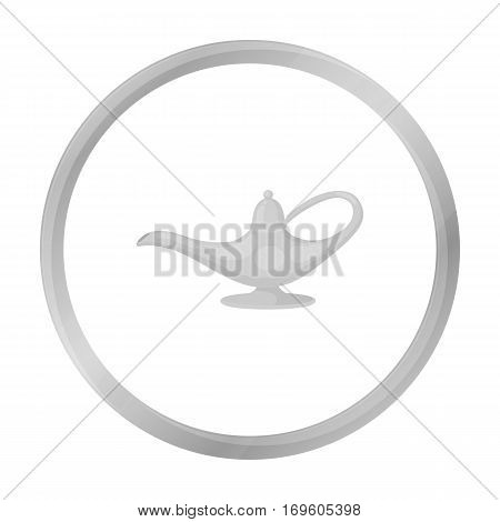 Genie's lamp icon in monochrome style isolated on white background. Black and white magic symbol vector illustration.