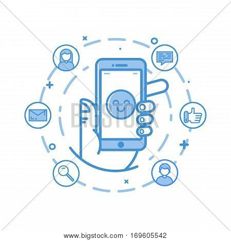 Vector business illustration in flat bold linear style. Hand holding mobile phone. Customer service and client experience - app on the screen - social network exposure and reputation management.