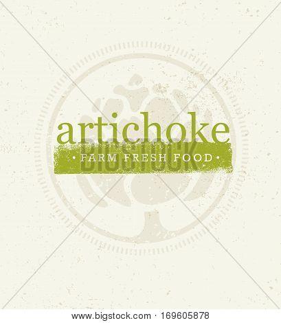 Artichoke Farm Fresh Food. Eco Green Vector Design Element With Grunge Background.