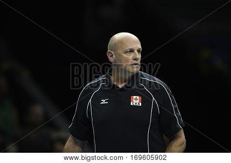 Rio Brazil. August 09 2016. Volleyball men - Coach HOAG Glenn during Brazil (BRA) vs Canada (CAN) at the 2016 Summer Olympic Games in Maracanazinho