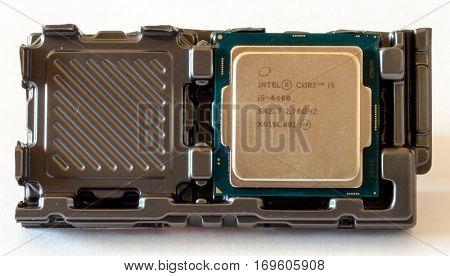 GOMEL, BELARUS - September 15, 2016: CPU Intel Core i5. Intel Corporation is an American multinational corporation and technology company headquartered in Santa Clara, California.