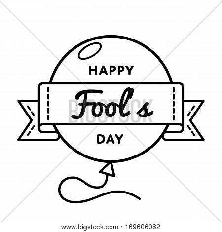 Happy Fools day emblem isolated illustration on white background. 1 april world comic holiday event label, greeting card decoration graphic element
