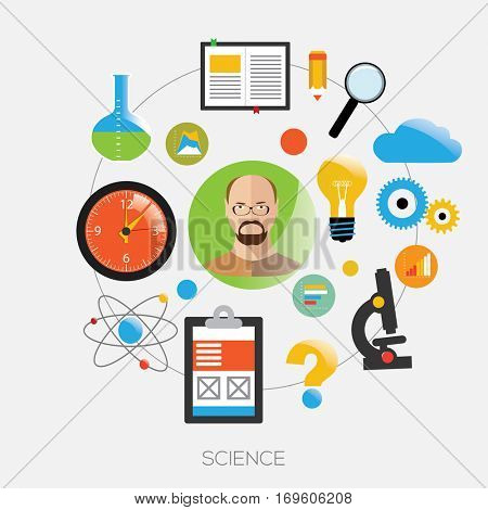 Avatar of men with with sciense symbols. Vector Illustration.