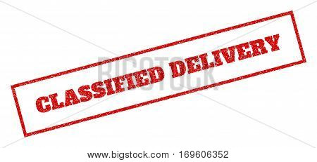 Red rubber seal stamp with Classified Delivery text. Vector tag inside rectangular frame. Grunge design and dirty texture for watermark labels. Inclined sticker.