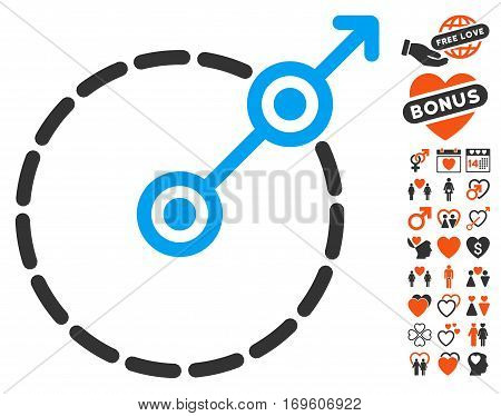 Round Area Exit icon with bonus romantic symbols. Vector illustration style is flat iconic elements for web design app user interfaces.