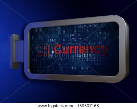 Banking concept: Currency and Credit Card on advertising billboard background, 3D rendering