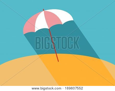 Flat Beach Umbrella with Long Shadow. Vector Illustration of Sun Parasol Flat Stylized