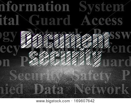 Privacy concept: Glowing text Document Security in grunge dark room with Dirty Floor, black background with  Tag Cloud