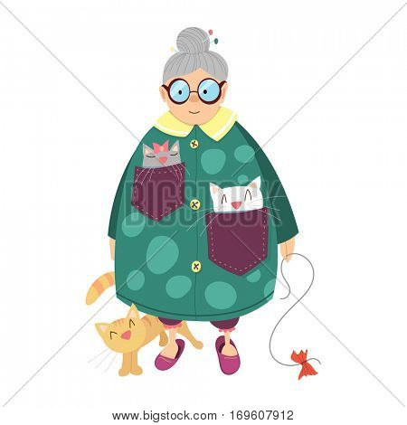 old kind lady with cats - cartoon illustration