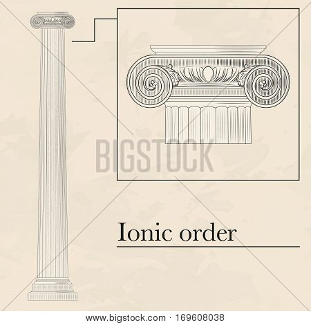 Classical hellenic architectural ioric style order on marble background