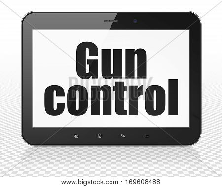 Security concept: Tablet Pc Computer with black text Gun Control on display, 3D rendering