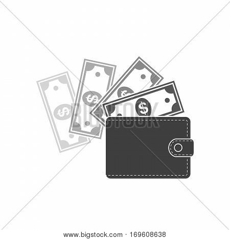Wallet with paper money isolated on light background. Black wallet icon in flat design. Vector illustration.