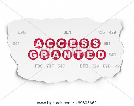Protection concept: Painted red text Access Granted on Torn Paper background with  Hexadecimal Code