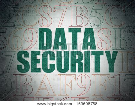 Security concept: Painted green text Data Security on Digital Data Paper background with Hexadecimal Code
